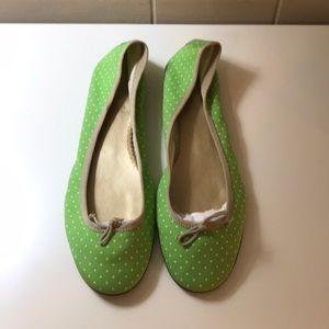 J. Crew green polka dot ballet Flats size 8